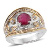Karen's Fabulous Finds Niassa Ruby, White Zircon 14K YG and Platinum Over Sterling Silver Ring (Size 7.0) TGW 1.950 cts.