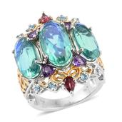 Peacock Quartz, Multi Gemstone 14K YG and Platinum Over Sterling Silver Openwork Ring (Size 7.0) TGW 15.410 cts.