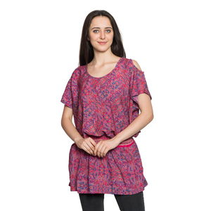 Screen Printed Purple Paisley Print 100% Polyester Scoop Neck, Cold Shoulder, Elastic Waistband Plated Tunic (Free Size)