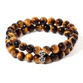 South African Tigers Eye Beads Sterling Silver Bracelet (7.50 In) TGW 205.000 cts.