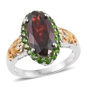 Mozambique Garnet, Russian Diopside 14K YG and Platinum Over Sterling Silver Ring (Size 8.0) TGW 8.58 cts.