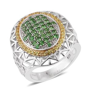 Tsavorite Garnet, Yellow Sapphire 14K YG and Platinum Over Sterling Silver Openwork Ring (Size 5.0) TGW 2.61 cts.