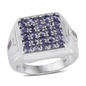 Catalina Iolite, White Topaz Platinum Over Sterling Silver Signet Cluster Men's Ring (Size 12.0) TGW 2.95 cts.