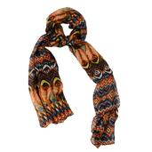 Deepak's Dazzling Deal Multi Color Peacock Feather Printed 100% Tabby Silk Scarf (40x70 in)