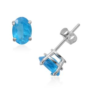14K WG Malgache Neon Apatite Oval Screw Back Stud Earrings TGW 1.43 cts.