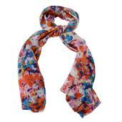 Orange and Blue Splash Art Pattern 100% Mulberry (Tabby) Silk Scarf (40x70 in)