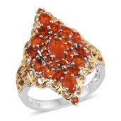 Salamanca Fire Opal 14K YG and Platinum Over Sterling Silver Elongated Ring (Size 6.0) TGW 1.80 cts.