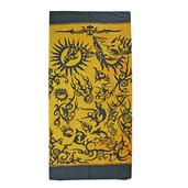 Black and Yellow Dolphin Print Rayon Sarong (70.8x47.2 in)