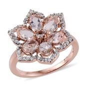 Marropino Morganite, Cambodian Zircon 14K RG Over Sterling Silver Ring (Size 5.0) TGW 3.05 cts.