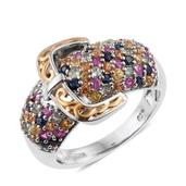 Multi Sapphire 14K YG and Platinum Over Sterling Silver Cluster Buckle Ring (Size 6.0) TGW 3.28 cts.