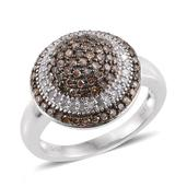 Champagne Diamond, Diamond Black Rhodium and Platinum Over Sterling Silver Ring (Size 8.0) TDiaWt 1.03 cts, TGW 1.03 cts.