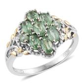 Green Kyanite 14K YG and Platinum Over Sterling Silver Openwork Ring (Size 6.0) TGW 2.48 cts.