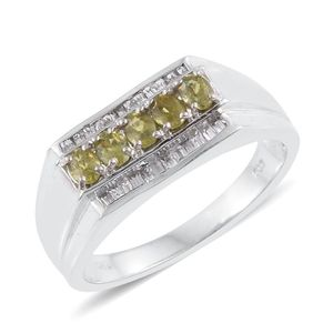 Ambanja Demantoid Garnet, White Topaz Platinum Over Sterling Silver Men's Ring (Size 10.0) TGW 1.96 cts.