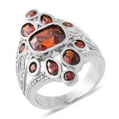 Simulated Red Diamond Stainless Steel Ring (Size 6.0) TGW 8.29 cts.