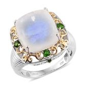 Sri Lankan Rainbow Moonstone, Russian Diopside 14K YG and Platinum Over Sterling Silver Openwork Ring (Size 7.0) TGW 17.55 cts.