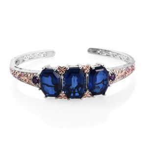 Brazilian Azul Quartz, Multi Gemstone 14K RG and Platinum Over Sterling Silver Cuff (7.25 in) TGW 34.820 Cts.