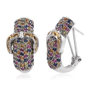 Multi Sapphire 14K YG and Platinum Over Sterling Silver Cluster Buckle J-Hoop Omega Clip Earrings TGW 5.04 cts.