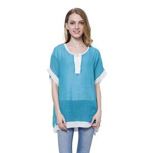 Turquoise 100% Polyester Short Sleeve Sheer Blouse (Medium/Large)