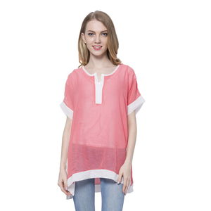 Coral 100% Polyester Short Sleeve Sheer Blouse