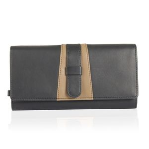 Black and Taupe Genuine Leather RFID Wallet