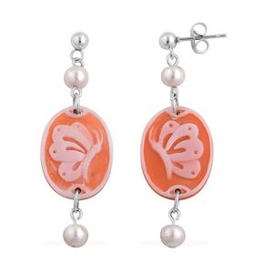 Butterfly Cameo, White Shell Pearl Stainless Steel Earrings