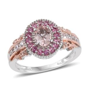 Marropino Morganite, Pink Tourmaline, White Topaz 14K RG and Platinum Over Sterling Silver Ring (Size 10.0) TGW 1.75 cts.