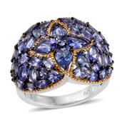 Tanzanite 14K YG and Platinum Over Sterling Silver Cluster Ring (Size 6.0) TGW 6.68 cts.