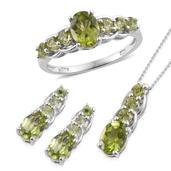 Hebei Peridot Platinum Over Sterling Silver Ring (Size 7) Earrings and Pendant With Chain (20 in) TGW 6.13 cts.