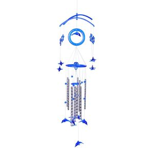 Vivid Blue Chroma Silvertone Dolphins Wind Chime (33.5x9 In)