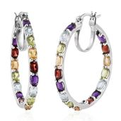Srikant's Showstopper Mozambique Garnet, Multi Gemstone Platinum Over Sterling Silver Inside Out Hoop Earrings TGW 8.900 Cts.
