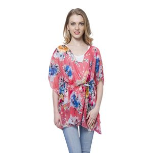 Punch Flower Printed 100% Polyester Poncho with Draw-string (Free Size)