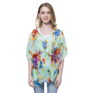 Mint Flower Printed 100% Polyester Poncho with Draw-string (Free Size)
