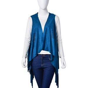 Teal Microfiber Suede Vest with Laser Cut and Fringe (Free Size)