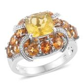 Canary Fluorite, Brazilian Citrine Platinum Over Sterling Silver Ring (Size 10.0) TGW 7.08 cts.