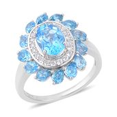 Swiss Blue Topaz, White Zircon Sterling Silver Ring (Size 9.0) TGW 5.25 cts.