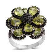 Hebei Peridot, Thai Black Spinel Sterling Silver Flower Ring (Size 5.0) TGW 9.34 cts.