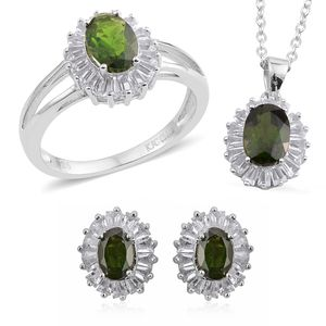 Russian Diopside, White Topaz Sterling Silver Earrings, Ring (Size 7) and Pendant With Chain TGW 7.12 cts.