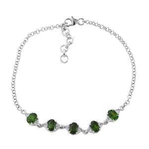 TLV Russian Diopside, White Topaz Platinum Over Sterling Silver Bracelet (7.50 In) TGW 3.31 cts.
