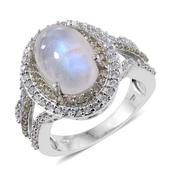 Sri Lankan Rainbow Moonstone, Cambodian Zircon, Green Sapphire Platinum Over Sterling Silver Ring (Size 7.0) TGW 9.100 cts.