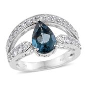 London Blue Topaz, White Topaz Platinum Over Sterling Silver Ring (Size 6.0) TGW 4.03 cts.