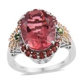 Salmon Quartz, Multi Gemstone 14K YG and Platinum Over Sterling Silver Ring (Size 5.0) TGW 11.06 cts.
