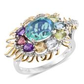 Easter Special Peacock Quartz, Multi Gemstone 14K YG and Platinum Over Sterling Silver Ring (Size 6.0) TGW 4.480 cts.