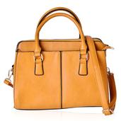 Mustard Faux Leather Tote Bag (12.2x5.1x9.4 in)