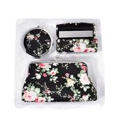 Black Floral Print Coin Wallet, Lipstick Case and Compact Mirror