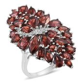 Mozambique Garnet, Cambodian Zircon Platinum Over Sterling Silver Elongated Ring (Size 6.0) TGW 10.00 cts.
