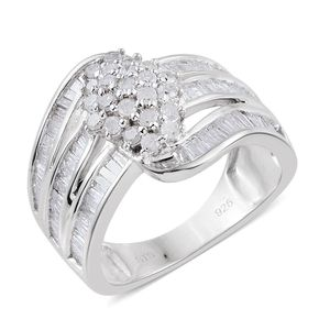 Diamond Platinum Over Sterling Silver Ring (Size 7.0) TDiaWt 1.50 cts, TGW 1.50 cts.
