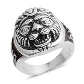 Stainless Steel Lion Face Men's Ring (Size 8.0)