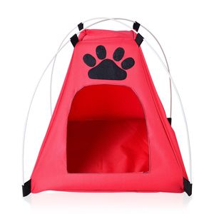 Red Paw Print Pet's Rest Zone Tent 100% Polyester(16.9x16.9x16.9 in) Easy to Clean