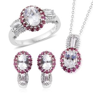 XIA Kunzite, Pink Tourmaline, White Topaz Platinum Over Sterling Silver J-Hoop Earrings, Ring (Size 7) and Pendant With Chain (20 in) TGW 8.15 cts.