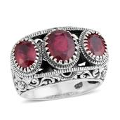 Bali Legacy Collection Niassa Ruby Sterling Silver Openwork Ring (Size 7.0) TGW 4.14 cts.